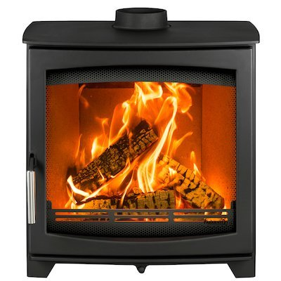 Parkray Aspect 9 Wood Stove Black Silver Handles