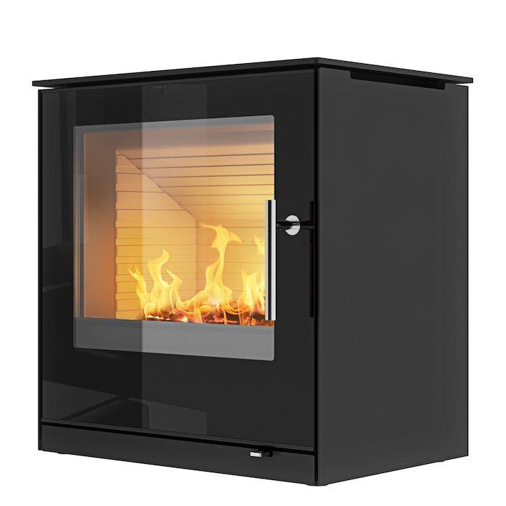 Rais Q-Tee 2 Wood Stove Black Black Glass Framed Door - Black
