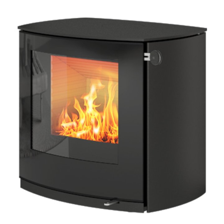 Rais Q-Tee 2 Curved Wood Stove Black Black Glass Framed Door - Black