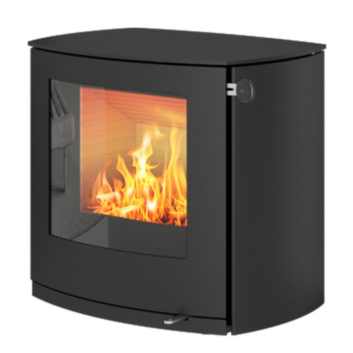 Rais Q-Tee 2 Curved Wood Stove Black Metal Framed Door - Black