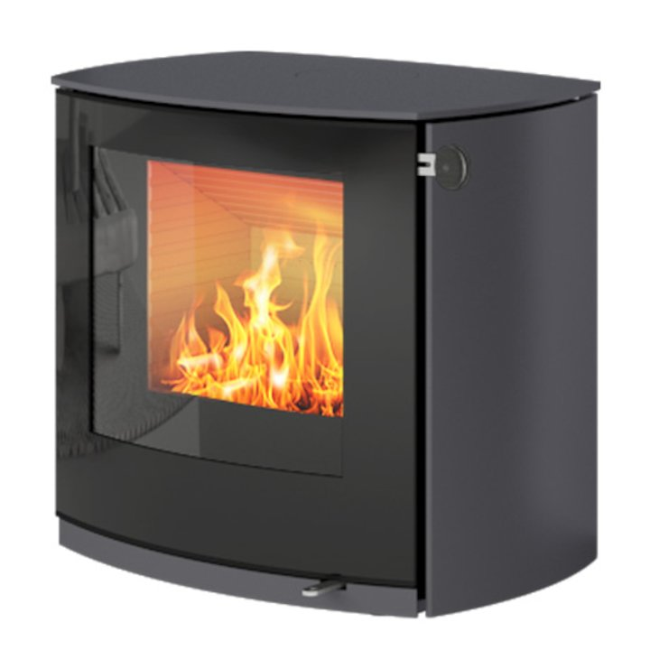 Rais Q-Tee 2 Curved Wood Stove Platinum Black Glass Framed Door - Platinum