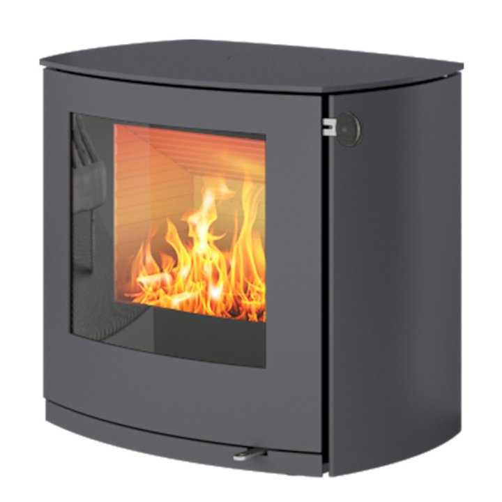 Rais Q-Tee 2 Curved Wood Stove Platinum Metal Framed Door - Platinum