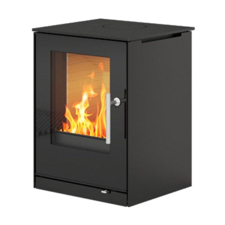 Rais Q-Tee 57 Wood Stove Black Black Glass Framed Door - Black