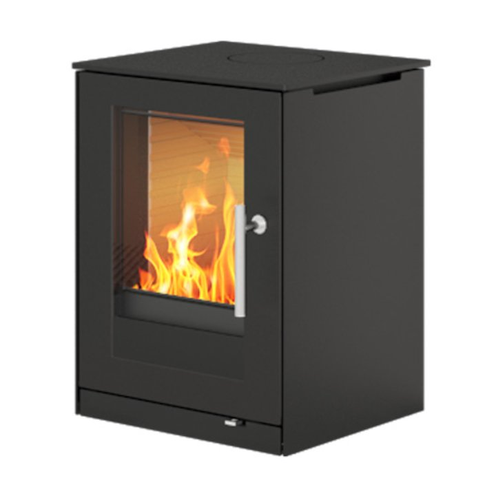 Rais Q-Tee 57 Wood Stove Black Metal Framed Door - Black