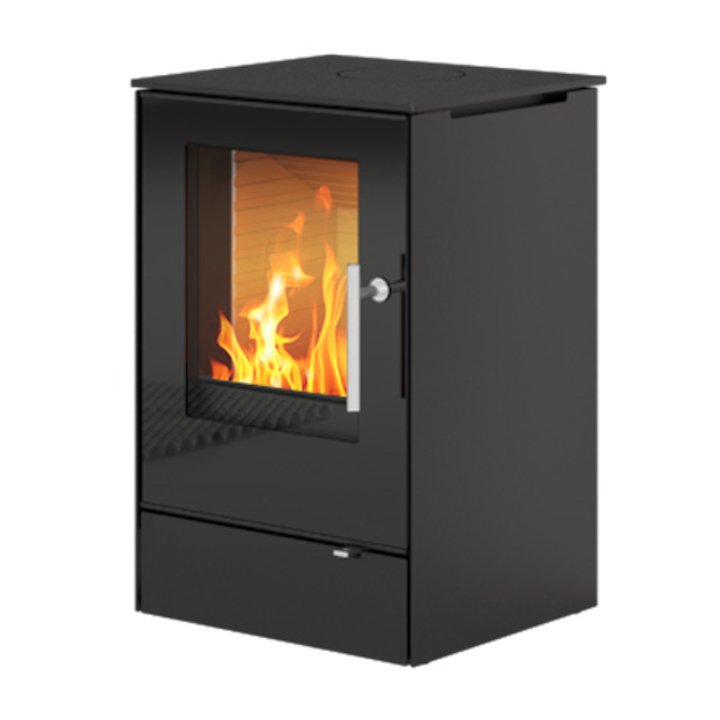 Rais Q-Tee 65 Wood Stove Black Black Glass Framed Door - Black