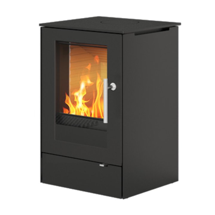 Rais Q-Tee 65 Wood Stove Black Metal Framed Door - Black