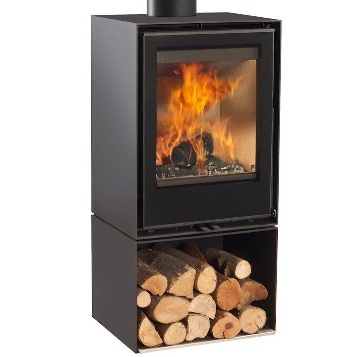 Rocal Habit 50V Logstore Wood Stove - Black