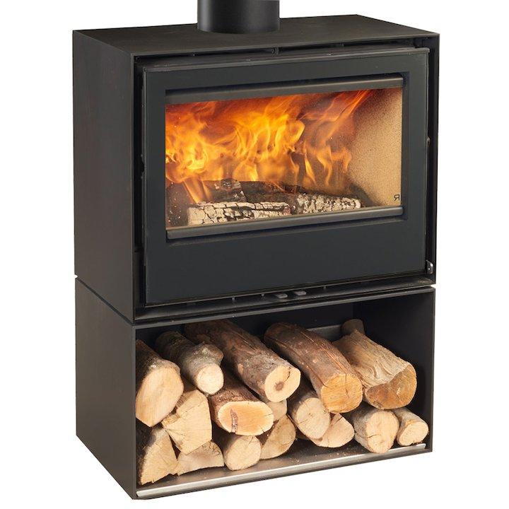 Rocal Habit 70A Logstore Wood Stove - Black