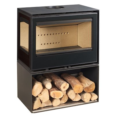 Rocal Habit 76 Logstore Wood Stove Black Left Side Glass