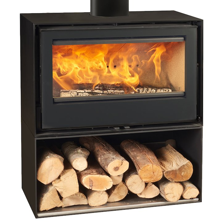 Rocal Habit 80 Logstore Wood Stove - Black