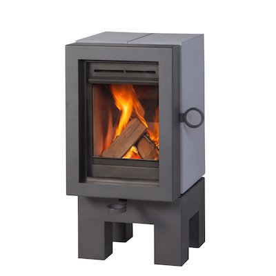 Wanders Oak Wood Stove Grey Black Legs