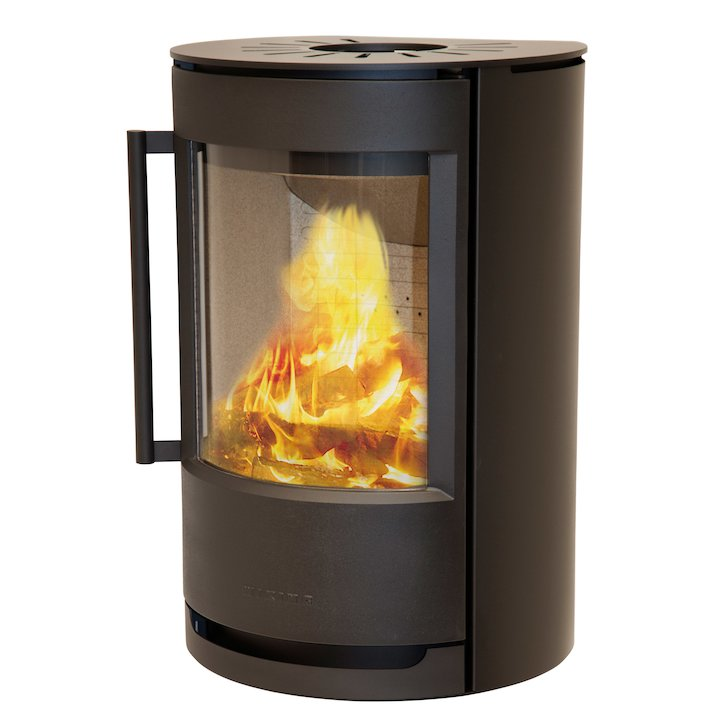 Wiking Luma Plinth Wood Stove Black Solid Sides - Black