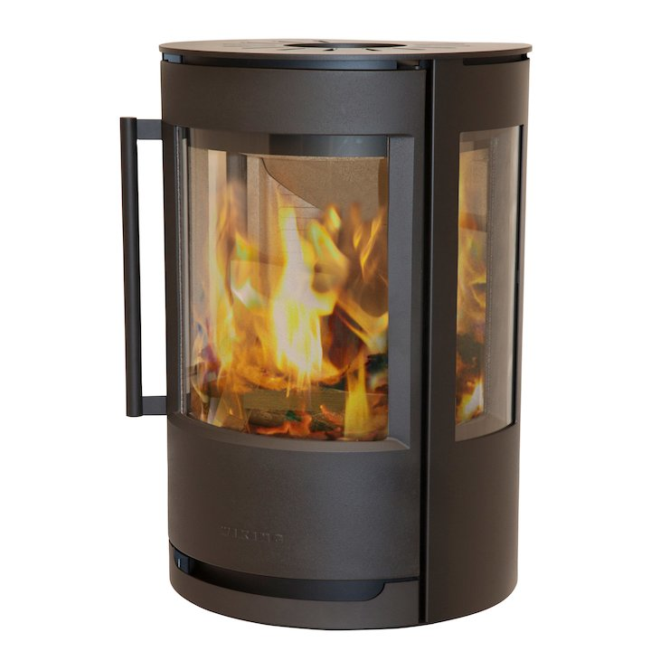 Wiking Luma Plinth Wood Stove Black Side Glass Windows - Black