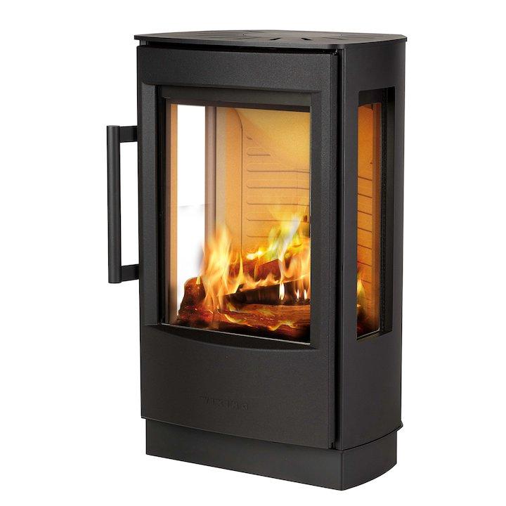 Wiking Miro Plinth Wood Stove Black Side Glass Windows - Black