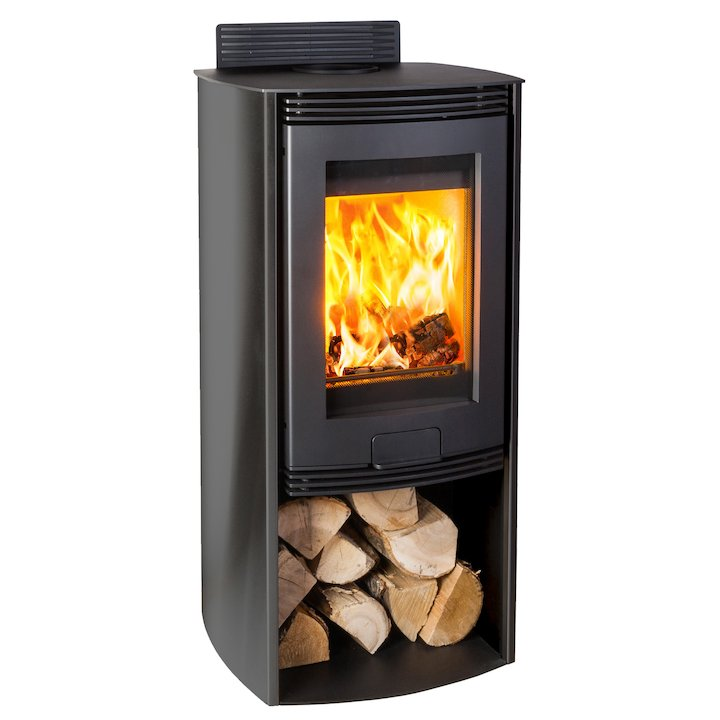 Di Lusso R4 Euro Wood Stove Black Curved Sides - Black