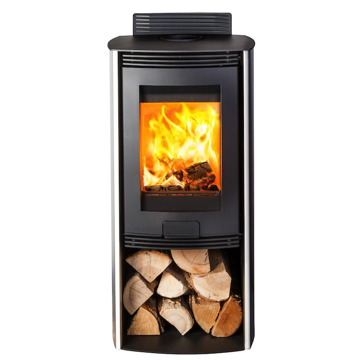 Di Lusso R4 Euro Wood Stove Stainless Steel Curved Sides - Stainless Steel