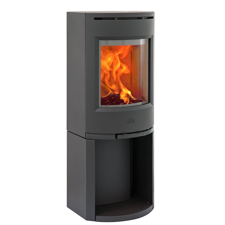 Jotul F130 Logstore Wood Stove Black Solid Sides - Black