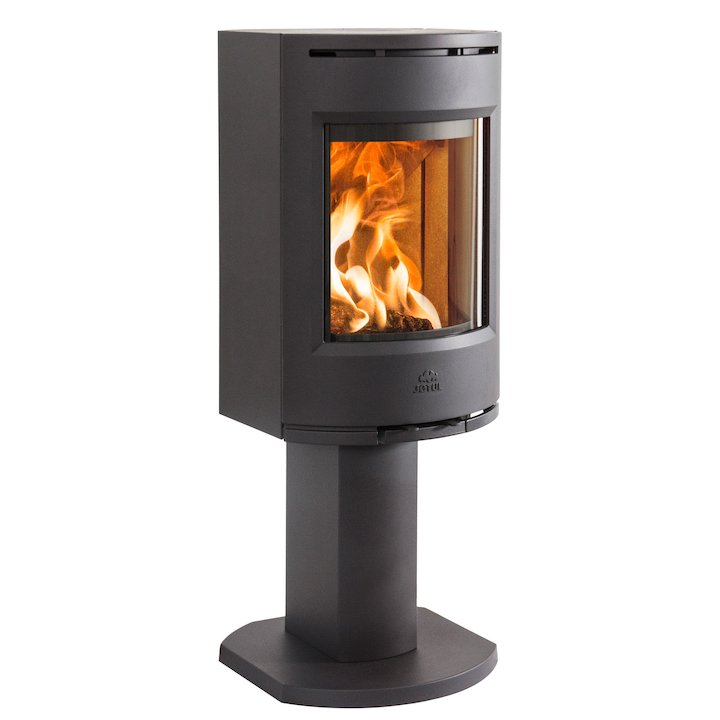 Jotul F130 Pedestal Wood Stove Black Solid Sides - Black