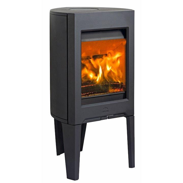 Jotul F160 Wood Stove Black Solid Sides - Black