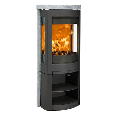 Jotul F371 Advanced Wood Stove Black/Soapstone Open Logstore