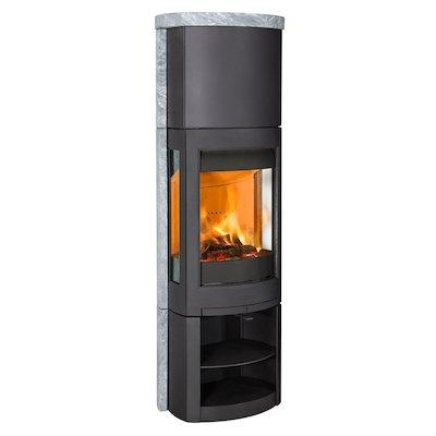 Jotul F371 Advanced High Top Wood Stove Black/Soapstone Open Logstore