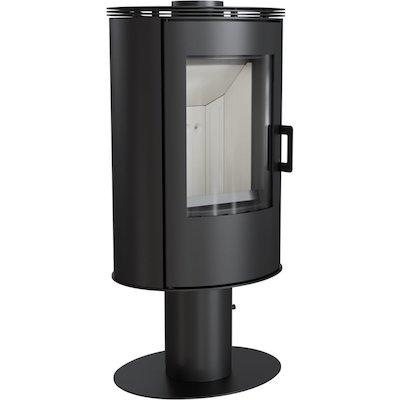 Kratki Koza AB Pedestal Wood Stove Black Fixed Pedestal Metal Framed Door