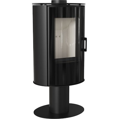 Kratki Koza AB Pedestal Wood Stove Black Rotating Pedestal Black Glass Framed Door