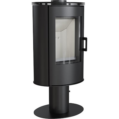 Kratki Koza AB Pedestal Wood Stove Black Rotating Pedestal Metal Framed Door