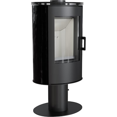 Kratki Koza AB Pedestal Wood Stove Ceramic Black Tiles Fixed Pedestal Metal Framed Door