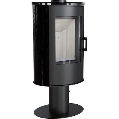 Kratki Koza AB Pedestal Wood Stove Ceramic Black Tiles Fixed Pedestal Metal Framed Door