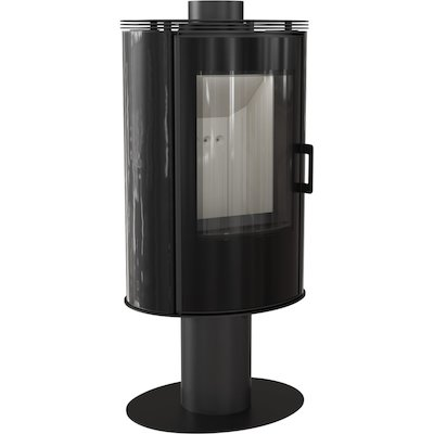 Kratki Koza AB Pedestal Wood Stove Ceramic Black Tiles Rotating Pedestal Black Glass Framed Door