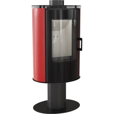 Kratki Koza AB Pedestal Wood Stove Ceramic Red Tiles Rotating Pedestal Black Glass Framed Door