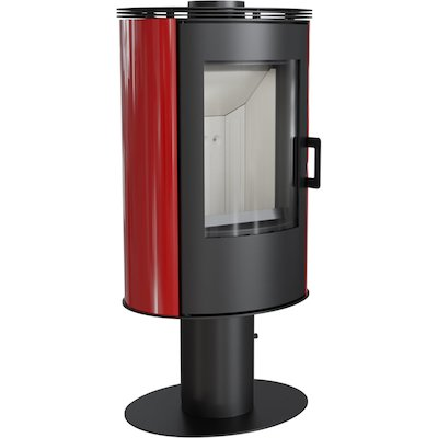 Kratki Koza AB Pedestal Wood Stove Ceramic Red Tiles Rotating Pedestal Metal Framed Door