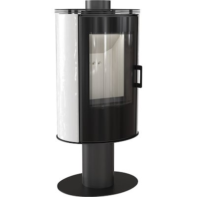 Kratki Koza AB Pedestal Wood Stove Ceramic White Tiles Rotating Pedestal Black Glass Framed Door