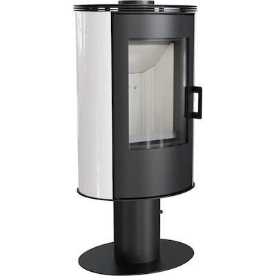Kratki Koza AB Pedestal Wood Stove Ceramic White Tiles Rotating Pedestal Metal Framed Door