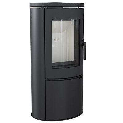 Kratki Koza AB Logstore Wood Stove Black Cast-Iron Door