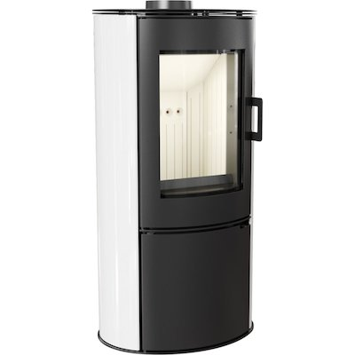 Kratki Koza AB Logstore Wood Stove Ceramic White Tiles Steel Door