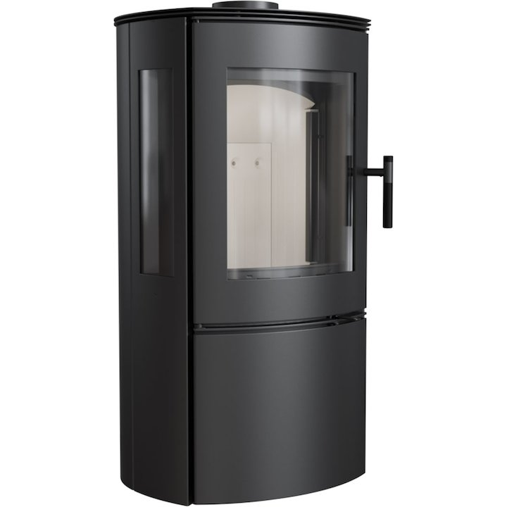 Kratki Falcon 9 Wood Stove Black Side Glass Windows - Black