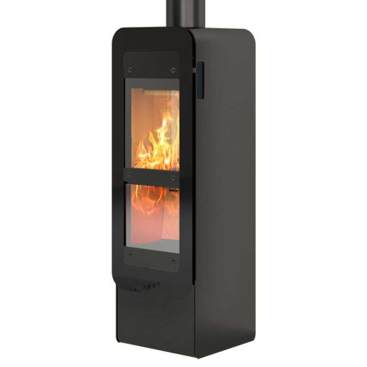 Rais Bionic Wood Gasification Stove Black Black Glass Framed Door - Black