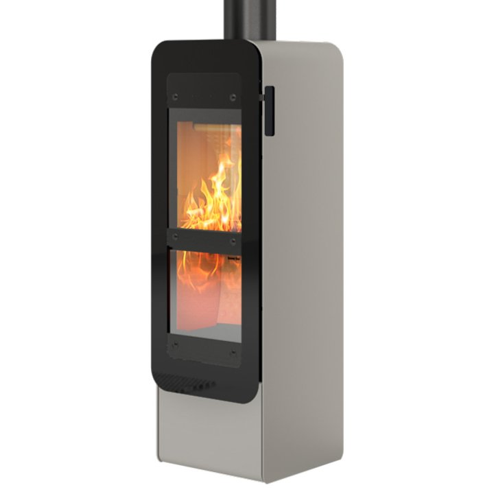 Rais Bionic Wood Gasification Stove Nickel Black Glass Framed Door - Nickel