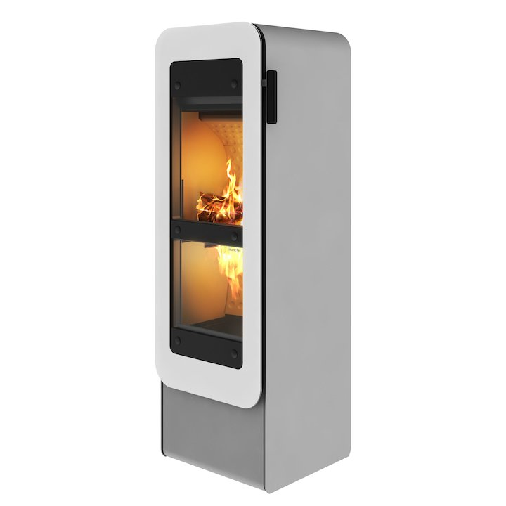 Rais Bionic Wood Gasification Stove Nickel White Glass Framed Door - Nickel