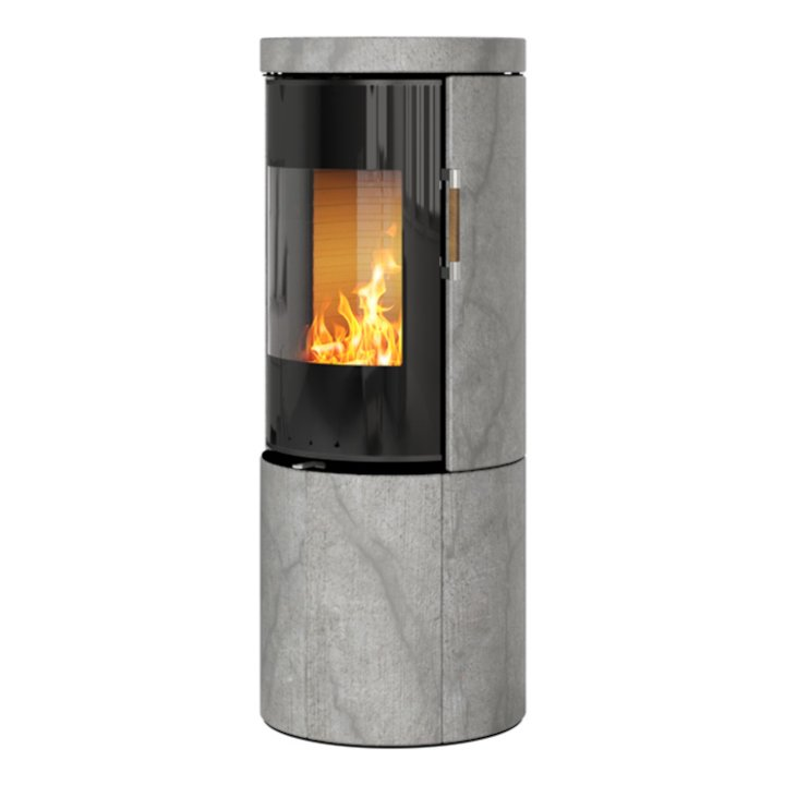 Rais Juno 120 Wood Stove Black Glass/Soapstone Black Glass Framed Door Solid Sides - Black Glass / Soapstone