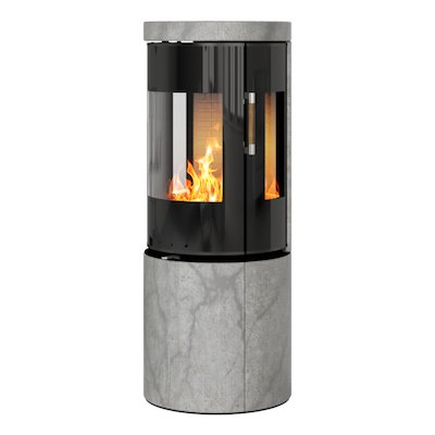 Rais Juno 120 Wood Stove Black Glass/Soapstone Black Glass Framed Door Side Glass Windows