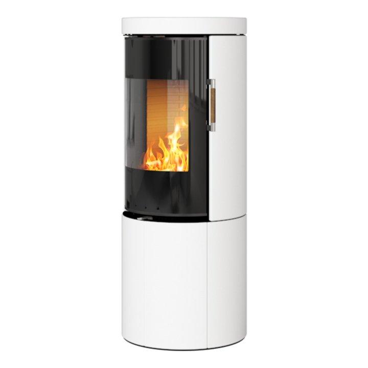 Rais Juno 120 Wood Stove Black Glass/White Black Glass Framed Door Solid Sides - Black Glass / White