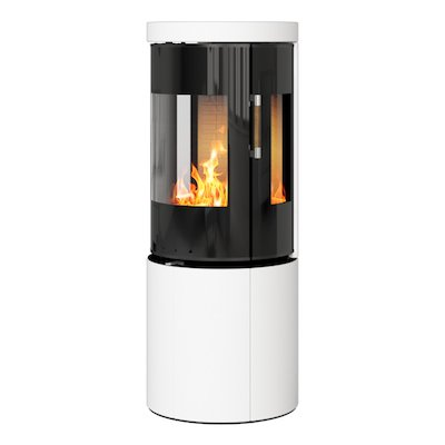 Rais Juno 120 Wood Stove Black Glass/White Black Glass Framed Door Side Glass Windows