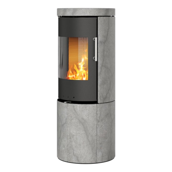 Rais Juno 120 Wood Stove Black/Soapstone Metal Framed Door Solid Sides - Black / Soapstone