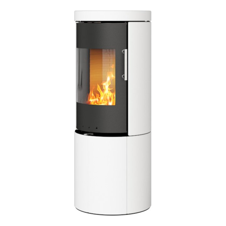 Rais Juno 120 Wood Stove Black/White Metal Framed Door Solid Sides - Black / White