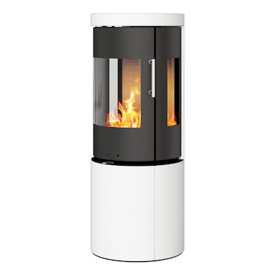 Rais Juno 120 Wood Stove Black/White Metal Framed Door Side Glass Windows