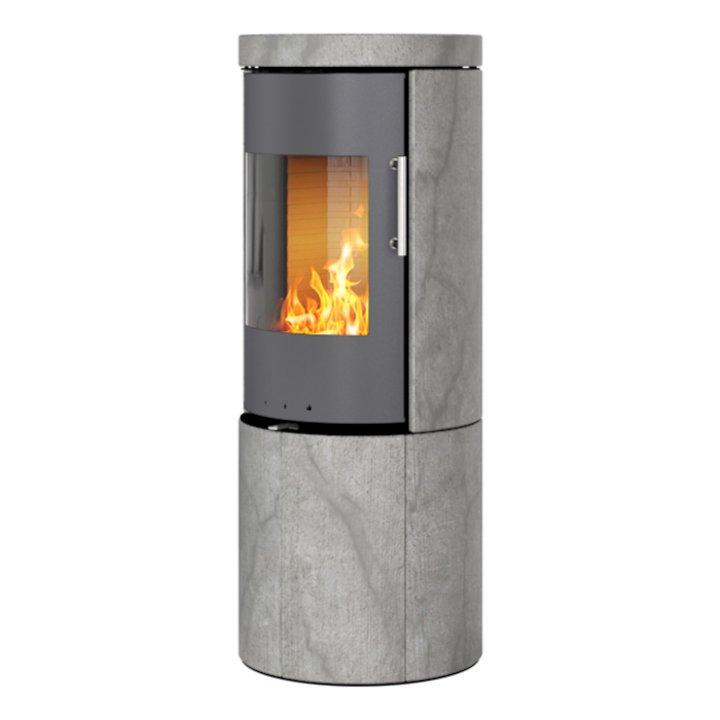 Rais Juno 120 Wood Stove Platinum/Soapstone Metal Framed Door Solid Sides - Platinum / Soapstone