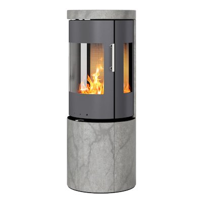 Rais Juno 120 Wood Stove Platinum/Soapstone Metal Framed Door Side Glass Windows